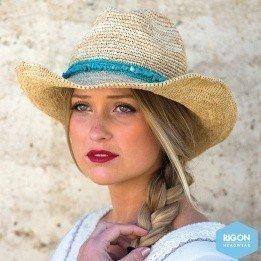 Cowboy Hat Castaway Raffia Turquoise