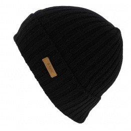 Haakon Turnup Black Wool Cap - Barts