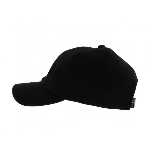 Letterman Curved Peak Black Cap - KING APPAREL