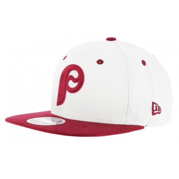 Snapback FLock Cap Red & White Cotton Logo - New Era
