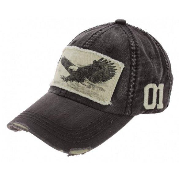 Strapback Cap Grey Cotton Eagle Cap