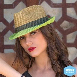 Trilby Block Natural & Green Hat