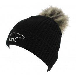 Angel Pompon Bonnet Black Wool - Eisbar