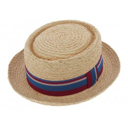PorkPie Hat / Canoe Sumac Natural Straw Sumac - Bars